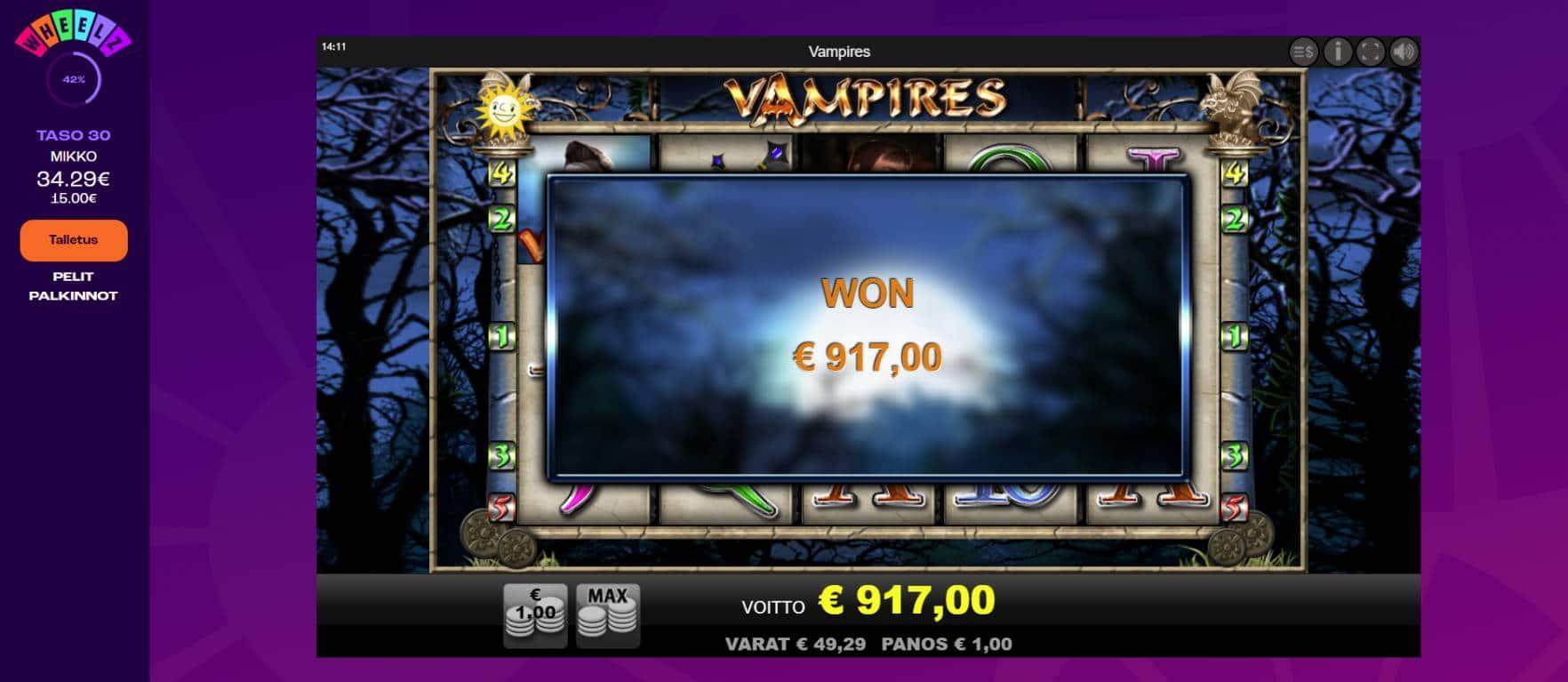 Vampires Casino win picture by Banhamm 15.7.2021 917e 917X Wheelz