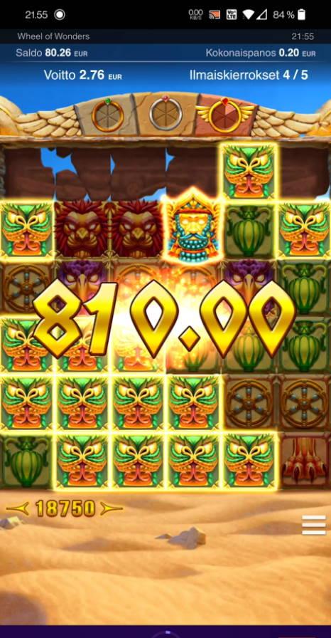 Wheel of Wonders Casino win picture by Salatheel 13.7.2021 810e 4050X Wheelz