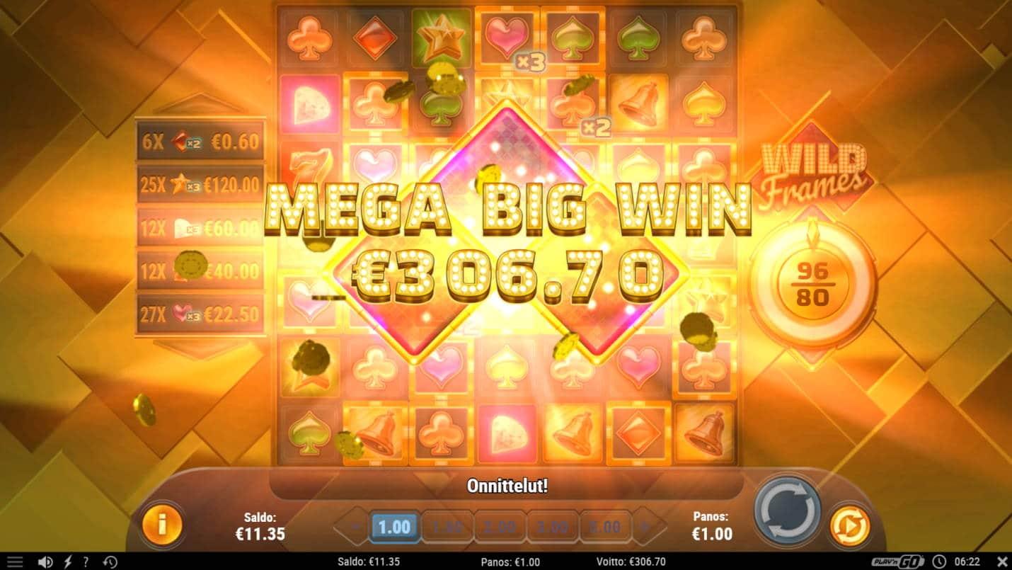 Wild Frames Casino win picture by MlGU 15.7.2021 306.70e 307X