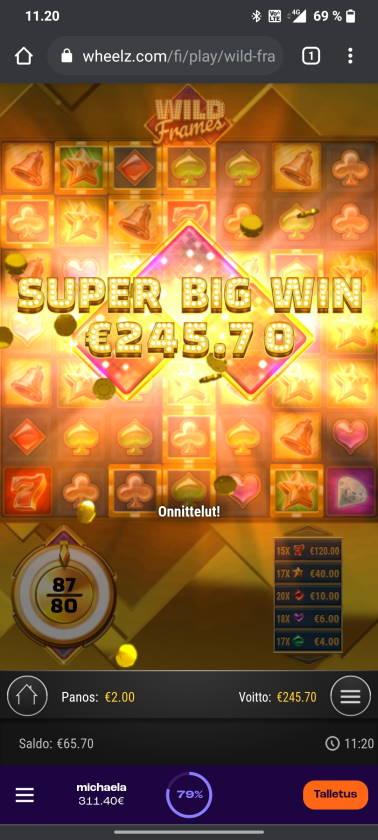 Wild Frames Casino win picture by tiikerililja87 18.6.2021 245.70e 123X
