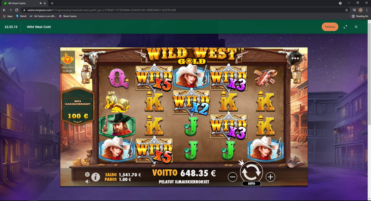 Wild West Gold Casino win picture by Jonkki 23.6.2021 648.35e 648X MrGreen