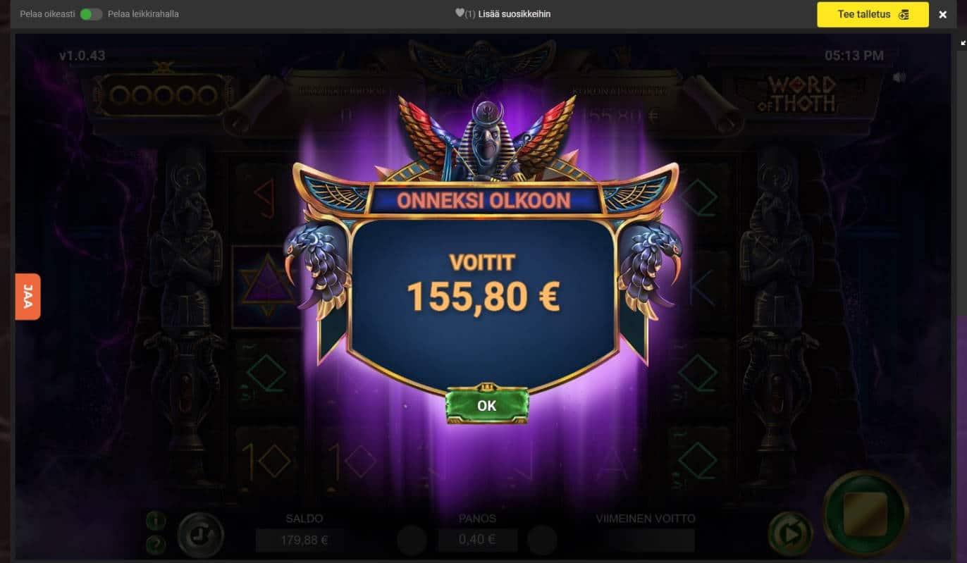 Word of Thoth Casino win picture by Mrmork666 31.5.2021 155.80e 390X