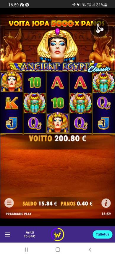 Ancient Egypt Casino win picture by dj_niemi 14.8.2021 200.80e 502X Wildz