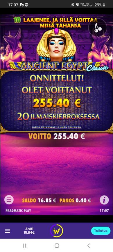 Ancient Egypt Casino win picture by dj_niemi 14.8.2021 255.40e 639X Wildz