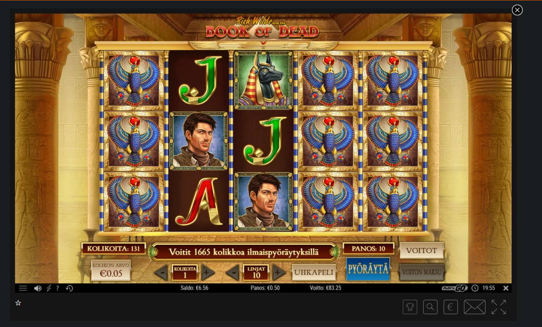 Book of Dead Casino win picture by Banhamm 5.8.2021 83.25e 167X