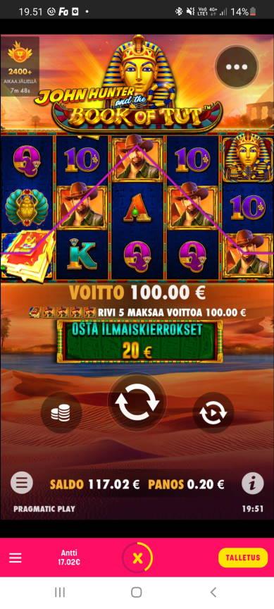 Book of Tut Casino win picture by dj_niemi 28.7.2021 100e 500X Caxino