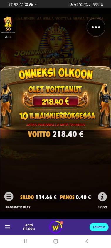 Book of Tut Casino win picture by dj_niemi 6.8.2021 218.40e 546X Wildz