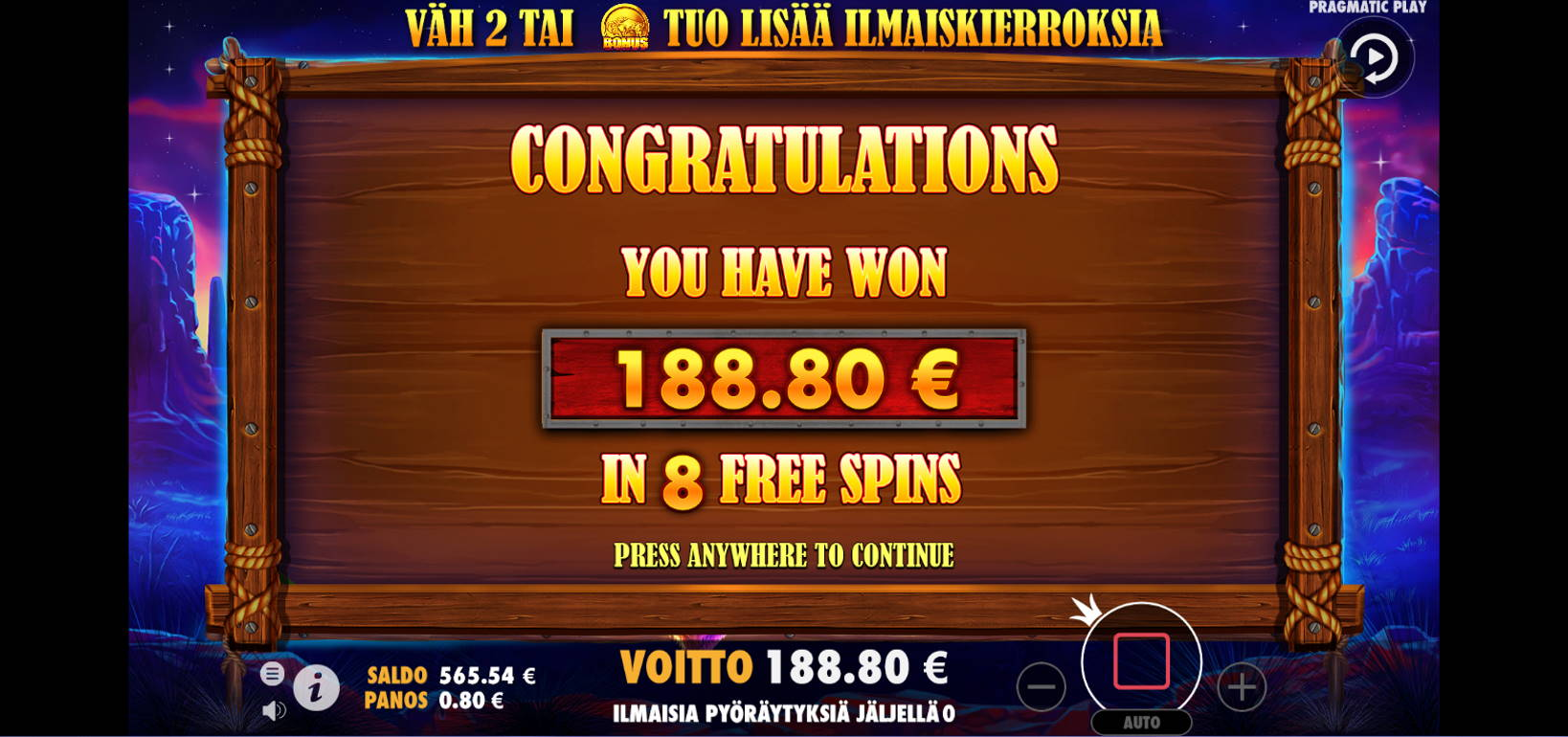 Buffalo King Casino win picture by Kari Grandi 20.8.2021 188.80e 236X