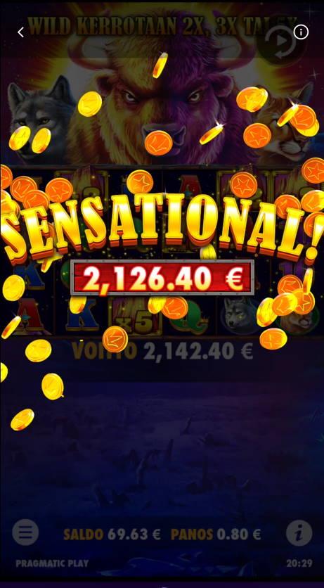 Buffalo King Casino win picture by Salatheel 5.8.2021 2126.40e 2658X