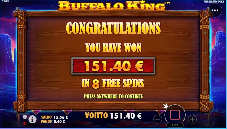 Buffalo King Casino win picture by dj_niemi 20.8.2021 151.40e 379X