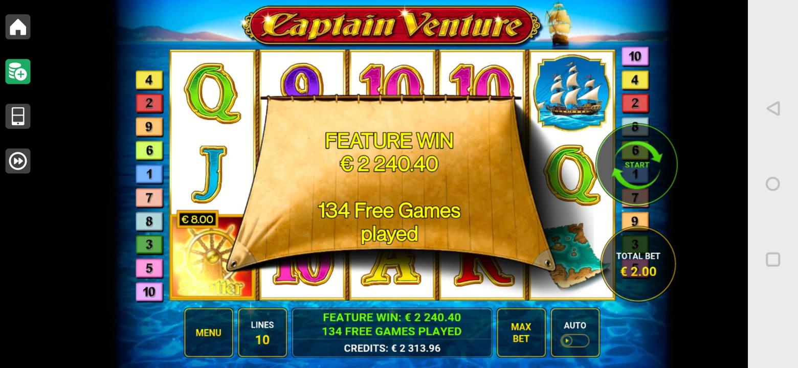 Captain Venture Casino win picture by Salatheel 6.8.2021 2240.40e 1120X