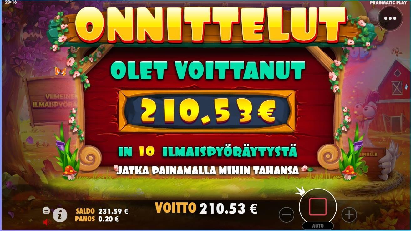 Chicken Drop Casino win picture by jube 7.8.2021 210.53e 1053X Wildz