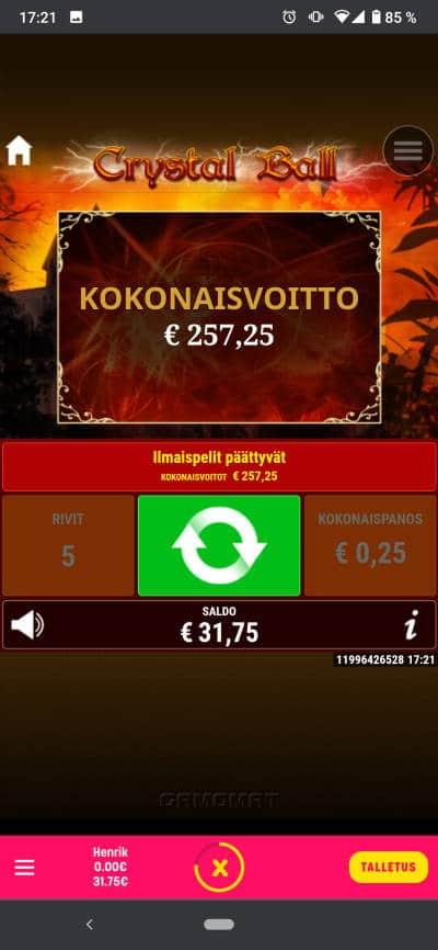Crystal Ball Casino win picture by Henkka 14.8.2021 257.25e 1029X Caxino