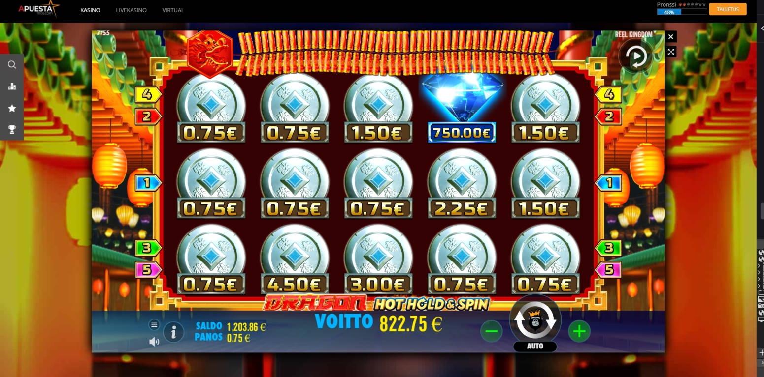 Dragon Hot Hold & Spin Casino win picture by jube 6.8.2021 822.75e 1097X APuesta