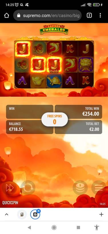 Eastern Emeralds Casino win picture by PUMMI_PLEDE 5.8.2021 254e 127X Supremo