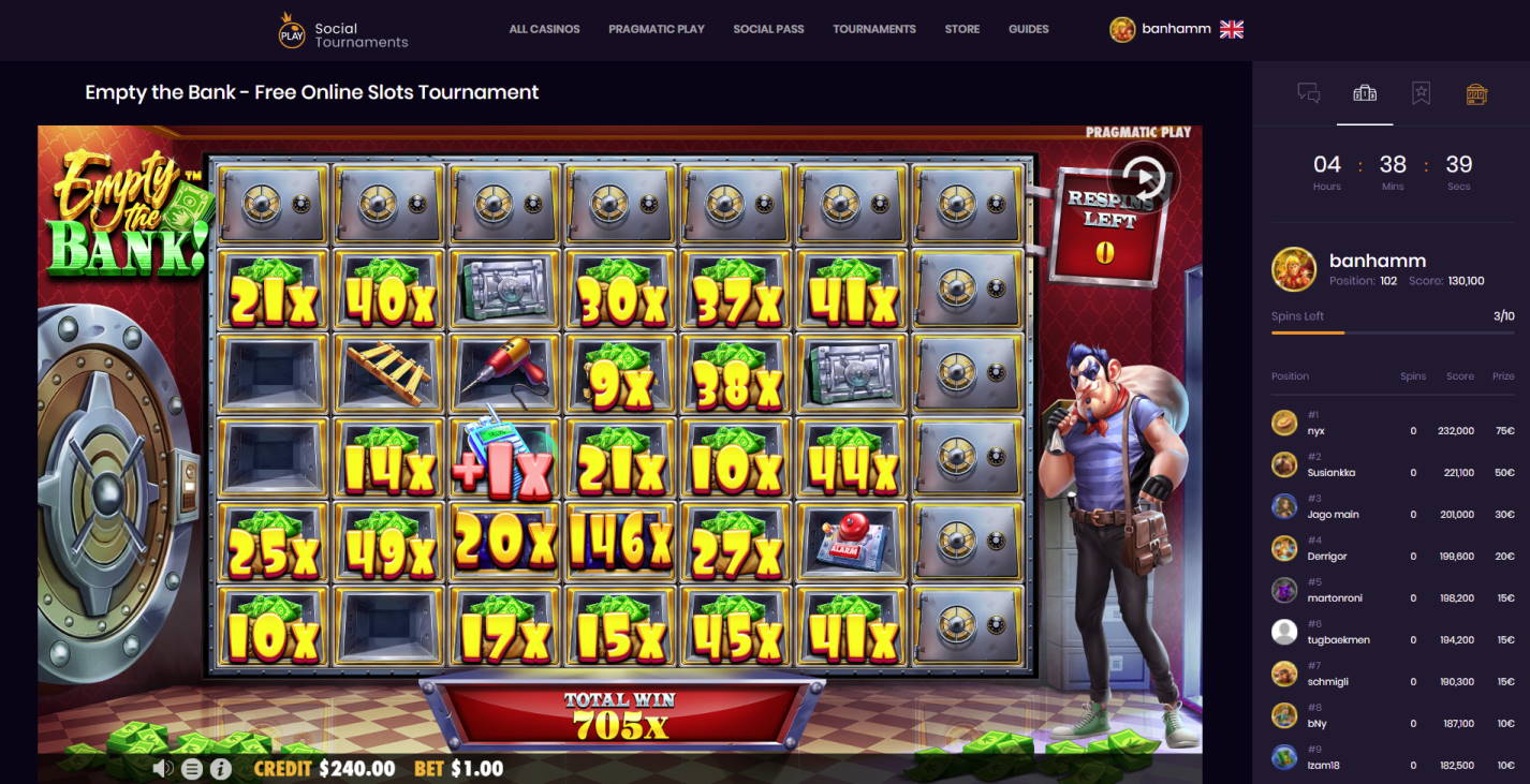 Empty the Bank Casino win picture by Banhamm 3.8.2021 705e 705X