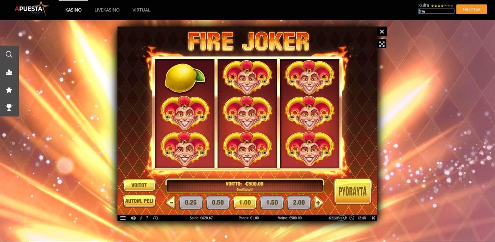 Fire Joker Casino win picture by jube 9.8.2021 500e 500X APuesta