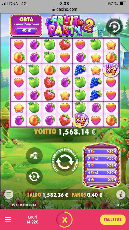 Fruit Party 2 Casino win picture by gollarsson 6.8.2021 1568.14e 3920X Caxino