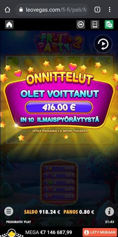 Fruit Party 2 Casino win picture by mikkuli 9.8.2021 416e 520X Leo Vegas
