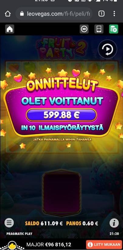 Fruit Party 2 Casino win picture by mikkuli 9.8.2021 599.88e 1000X Leo Vegas