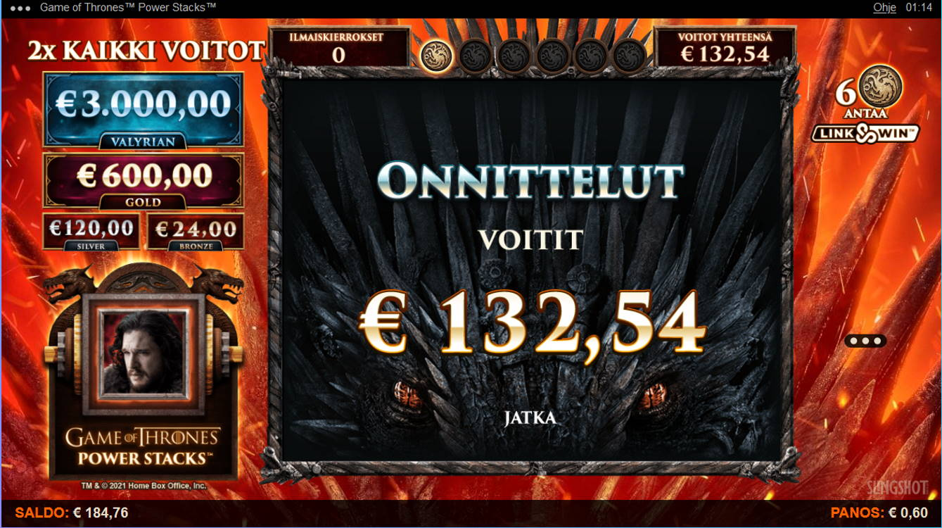 Game of Thrones Power Stacks Casino win picture by Kari Grandi 20.8.2021 132.54e 221X