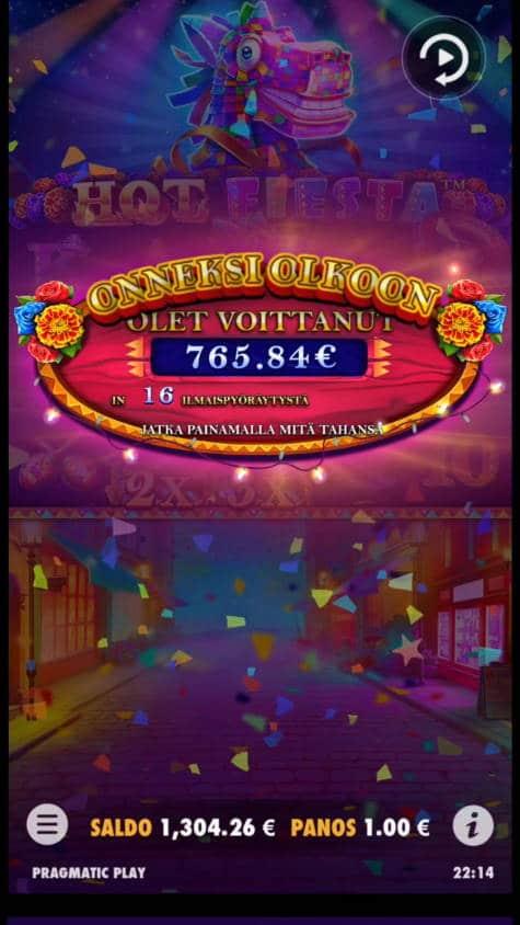 Hot Fiesta Casino win picture by Salatheel 12.8.2021 765.84e 766X