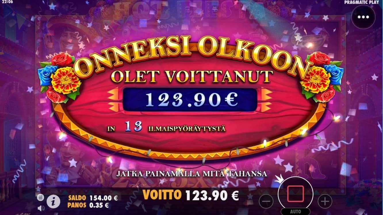 Hot Fiesta Casino win picture by dj_niemi 19.8.2021 123.90e 354X