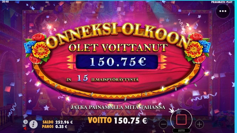 Hot Fiesta Casino win picture by dj_niemi 20.8.2021 150.75e 431X