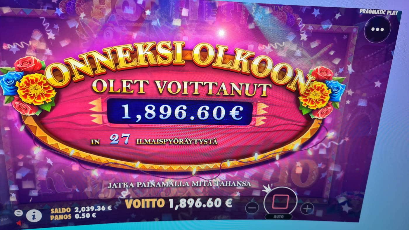 Hot Fiesta Casino win picture by dj_niemi 6.8.2021 1896.60e 3793X Wildz
