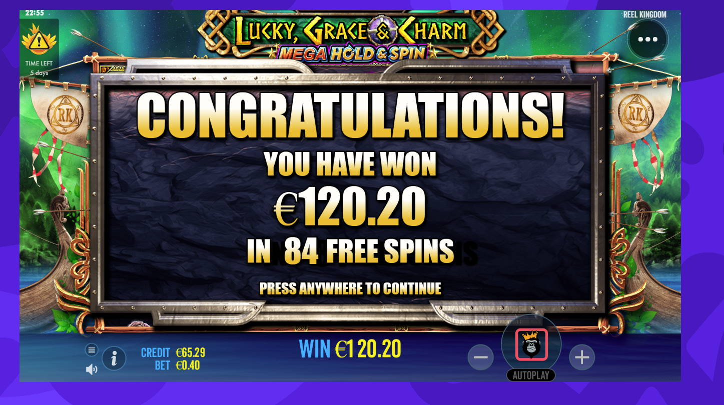 Lucky Grace & Charm Casino win picture by Banhamm 19.8.2021 120.20e 301X