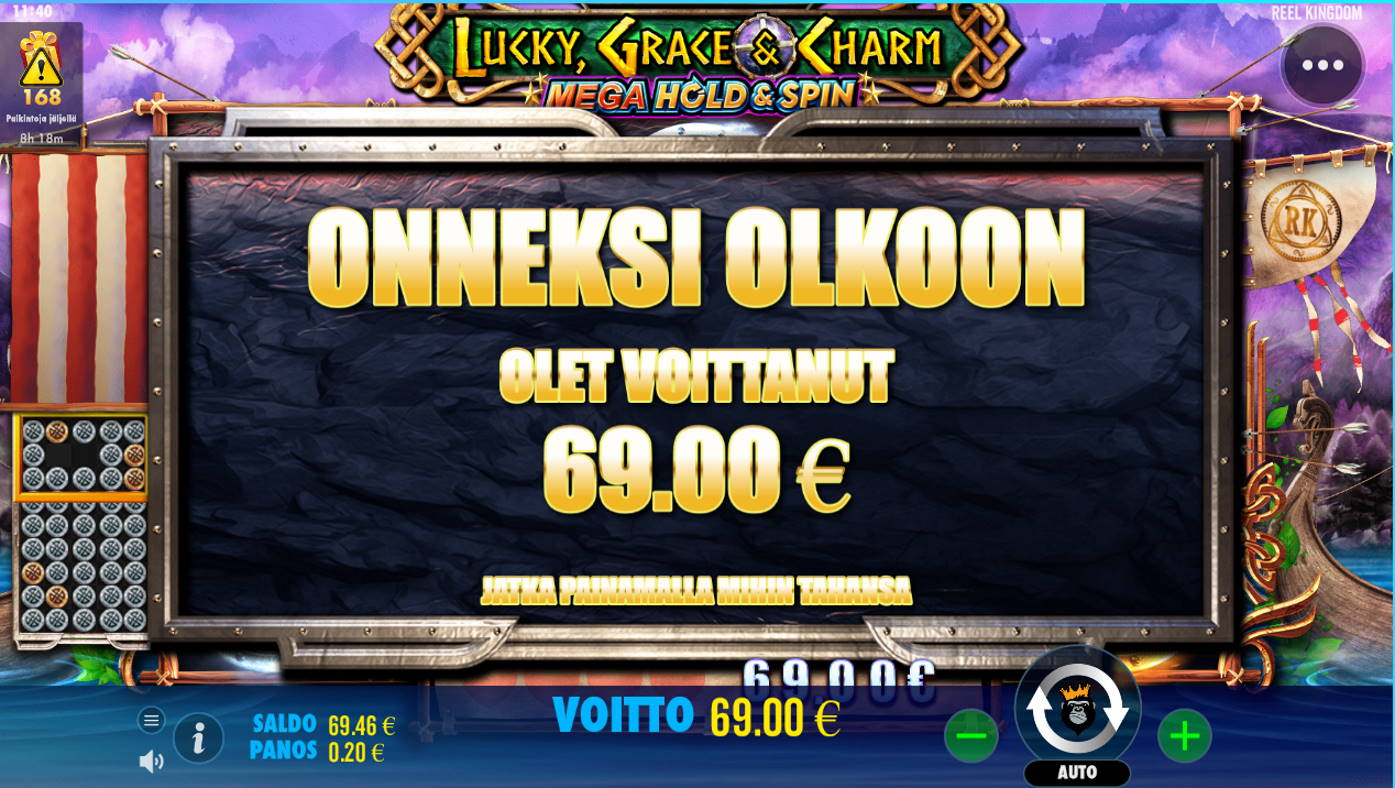 Lucky Grace & Charm Casino win picture by Kari Grandi 3.8.2021 69e 345X Wildz