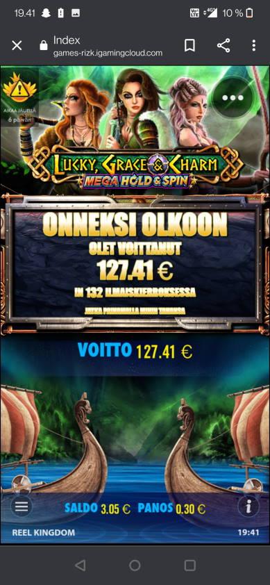 Lucky Grace & Charm Casino win picture by jelemeri 29.7.2021 127.41e 425X Rizk