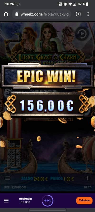 Lucky Grace & Charm Casino win picture by tiikerililja87 25.7.2021 156e 156X Wheelz