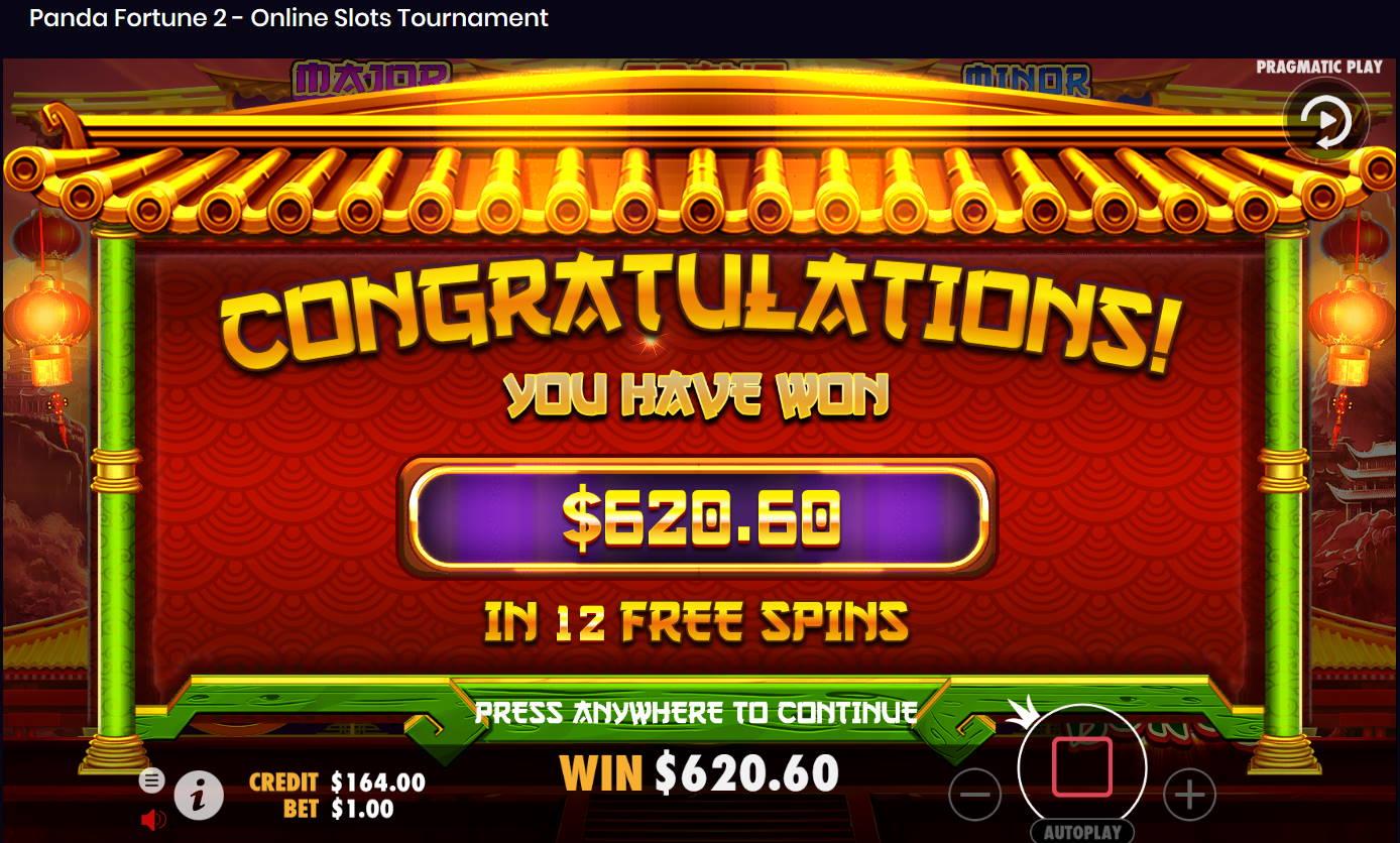 Panda Fortune 2 Casino win picture by Kari Grandi 13.8.2021 620.60e 621X
