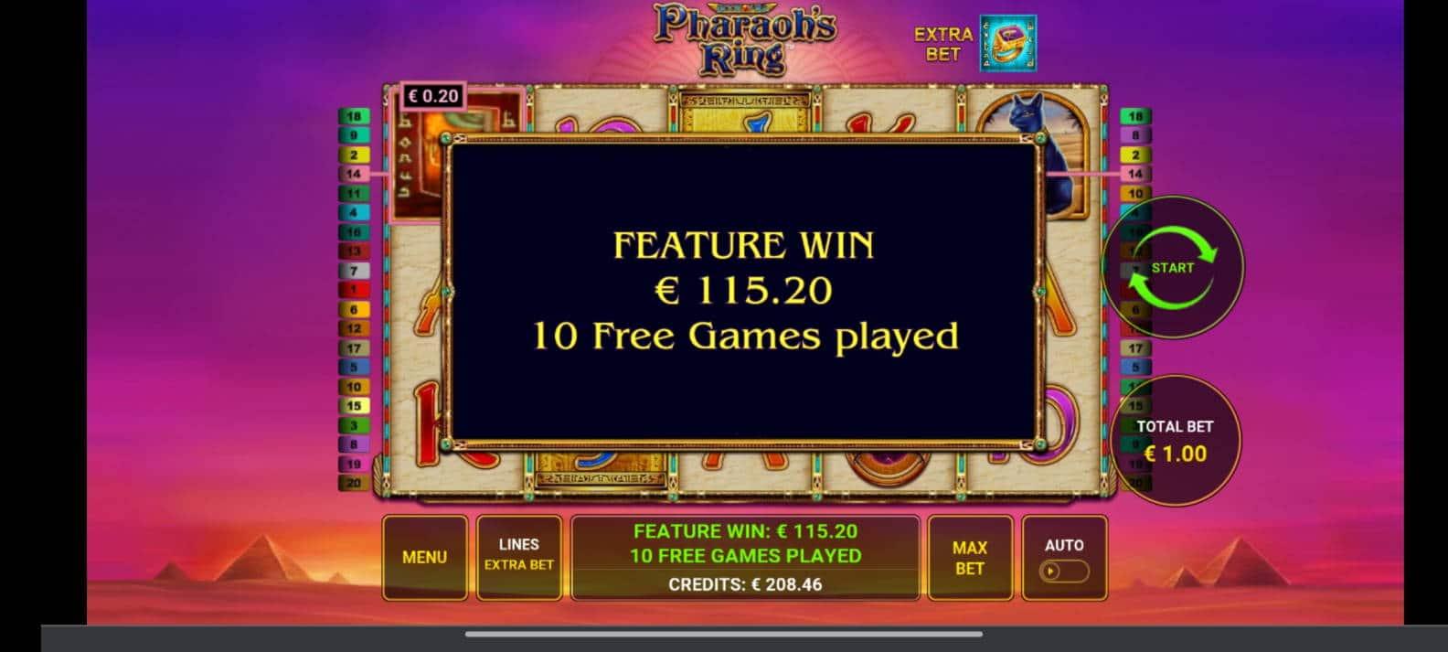 Pharaohs Ring Casino win picture by tiikerililja87 25.7.2021 115.20e 115X