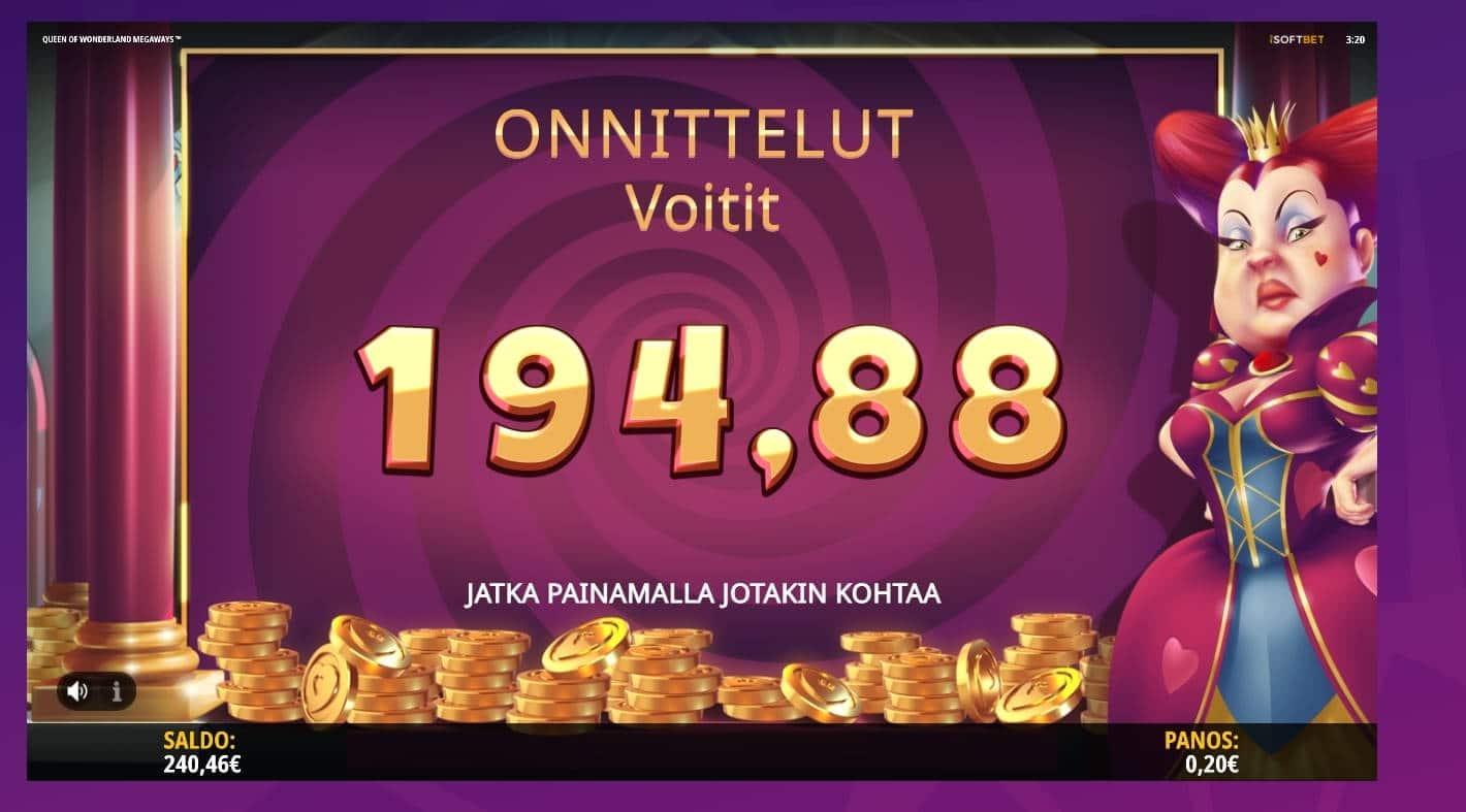 Queen of Wonderland Megaways Casino win picture by jube 7.8.2021 194.88e 974X Wheelz