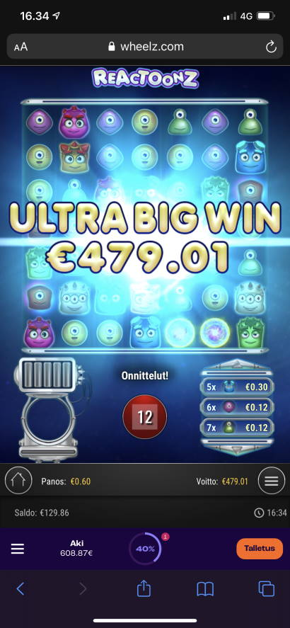 Reactoonz Casino win picture by aki_2772 28.7.2021 479.01e 798X Wheelz