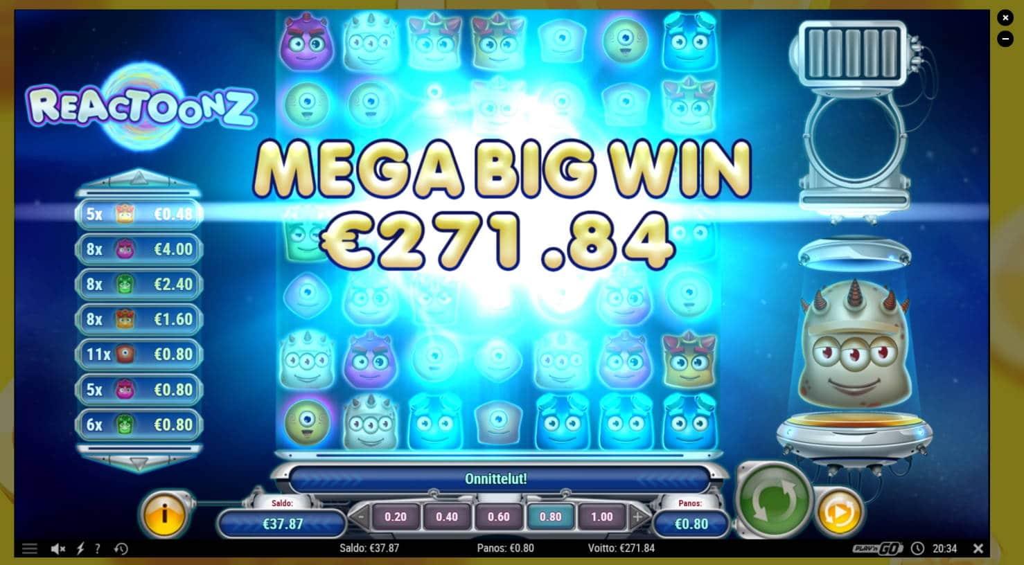Reactoonz Casino win picture by steppeni 18.8.2021 271.84e 340X
