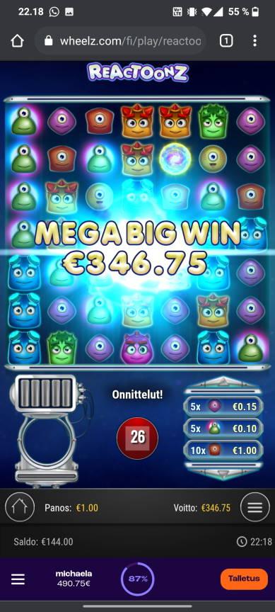 Reactoonz Casino win picture by tiikerililja87 25.7.2021 346.75e 347X Wheelz