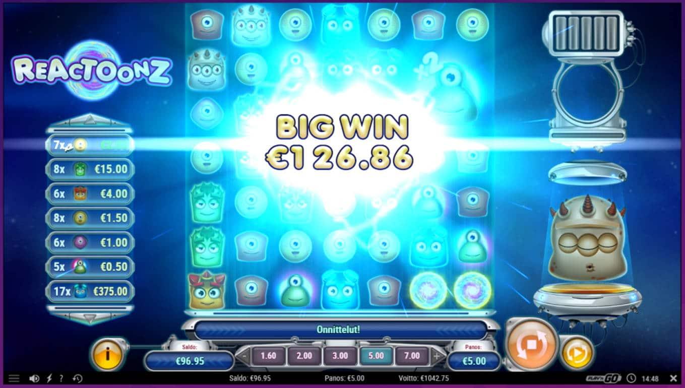 Reactoonz Casino win picture by tiikerililja87 3.8.2021 1042.75e 209X Wheelz