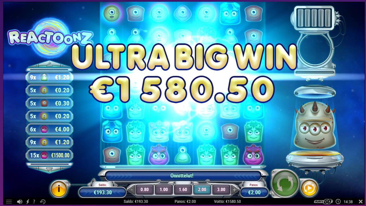 Reactoonz Casino win picture by tiikerililja87 3.8.2021 1580.50e 790X Wheelz