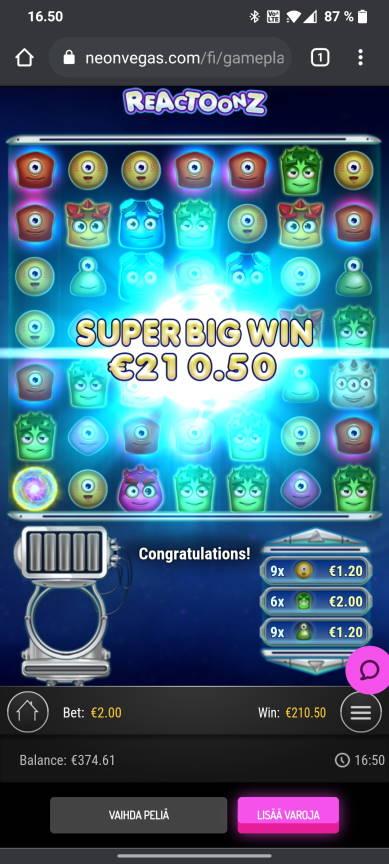 Reactoonz Casino win picture by tiikerililja87 3.8.2021 210.50e 105X Neon Vegas