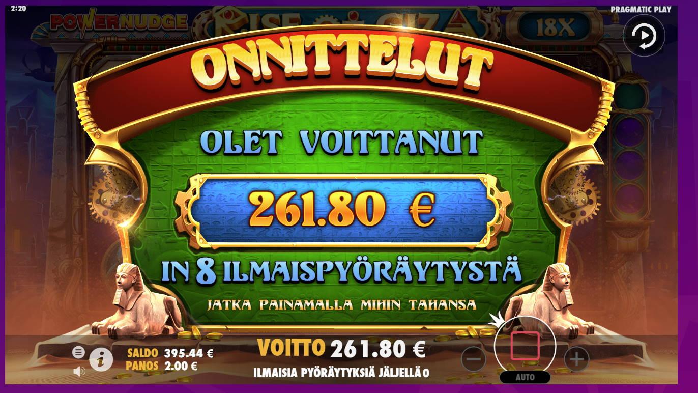 Rise of Giza Casino win picture by Banhamm 20.8.2021 261.80e 131X
