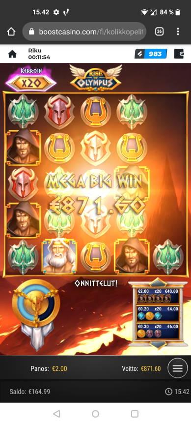 Rise of Olympus Casino win picture by r i k u 16.8.2021 871.60e 436X Boost Casino
