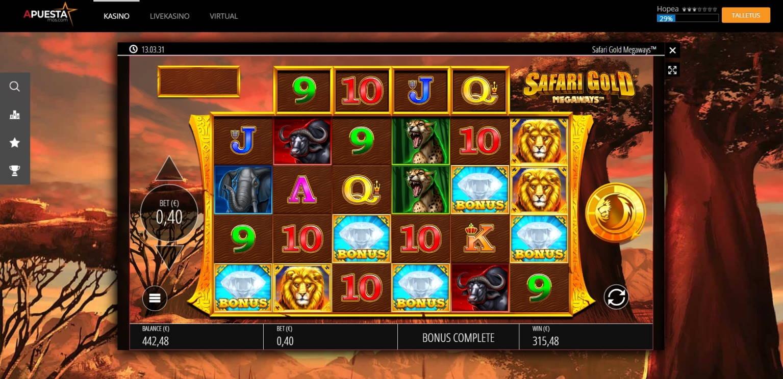 Safari Gold Megaways Casino win picture by jube 8.8.2021 315.48e 789X APuesta