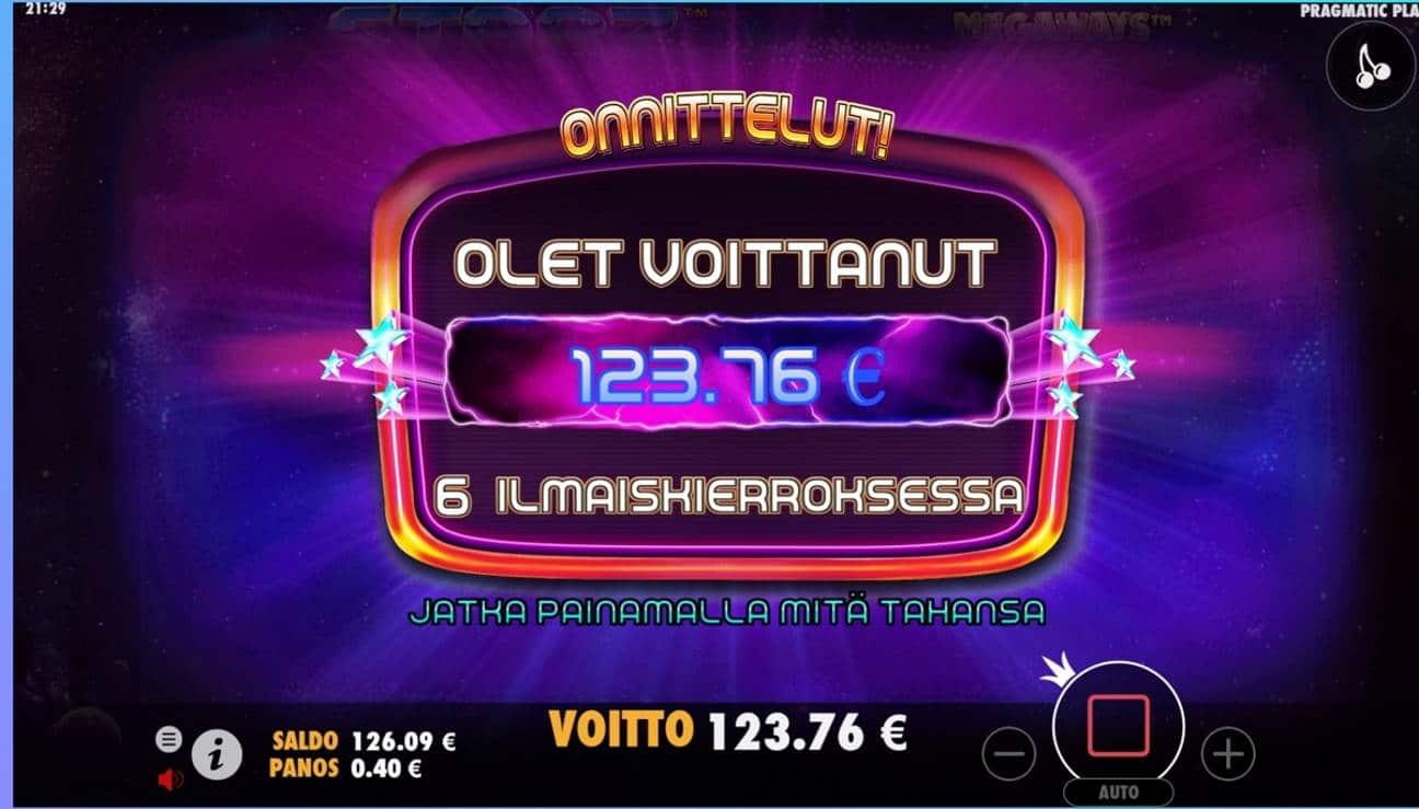 Starz Megaways Casino win picture by dj_niemi 6.8.2021 123.76e 309X Wildz