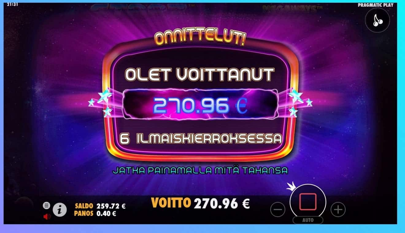 Starz Megaways Casino win picture by dj_niemi 6.8.2021 270.96e 677X Wildz