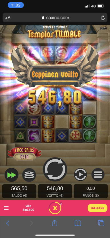 Templar Tumble Casino win picture by [ICA] Brotherhood (Wilho) 6.8.2021e 546.8e 1094X Caxino