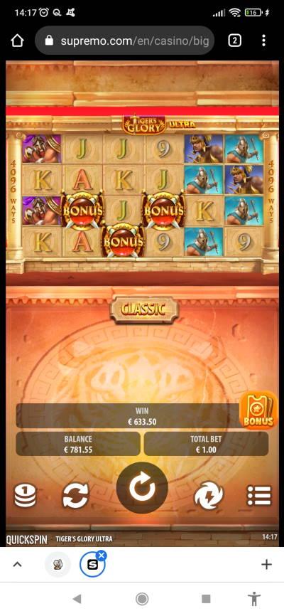Tigers Glory Ultra Casino win picture by PUMMI_PLEDE 5.8.2021 633.50e 634X Supremo