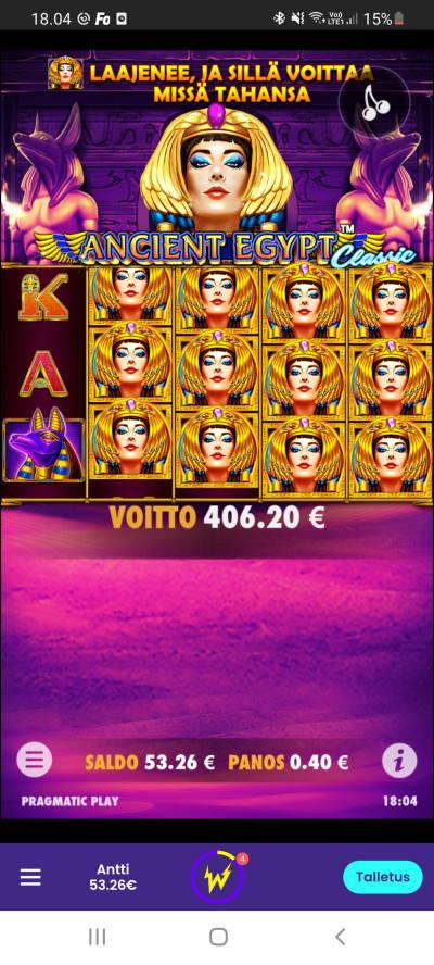Ancient Egypt Casino win picture by dj_niemi 7.9.2021 406.20e 1016X Wildz